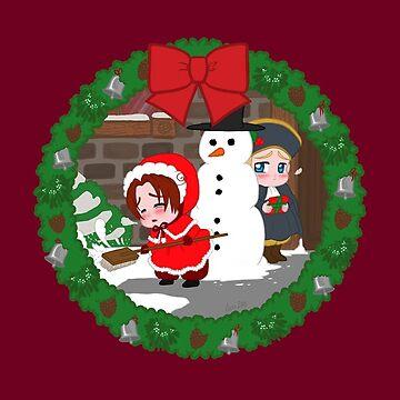 Christmas Chibitalia and Holy Rome by mistina