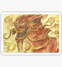 Happy Autumnal Watercolour Dragon Sticker
