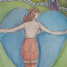 She Hugs His Heart  by Anthea  Slade