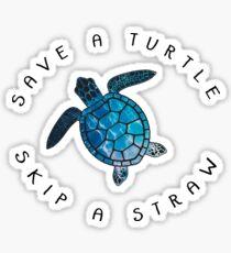 Rette eine Schildkröte, lass einen Strohhalm fallen Sticker