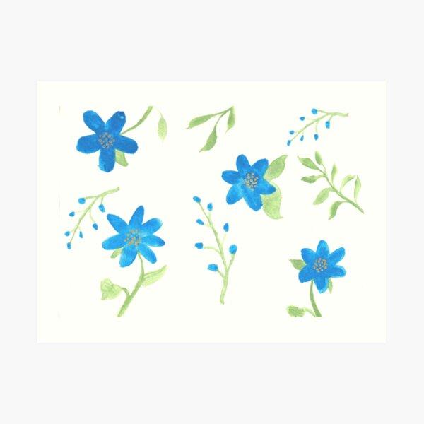 Vibrant Blue Flowers Art Print
