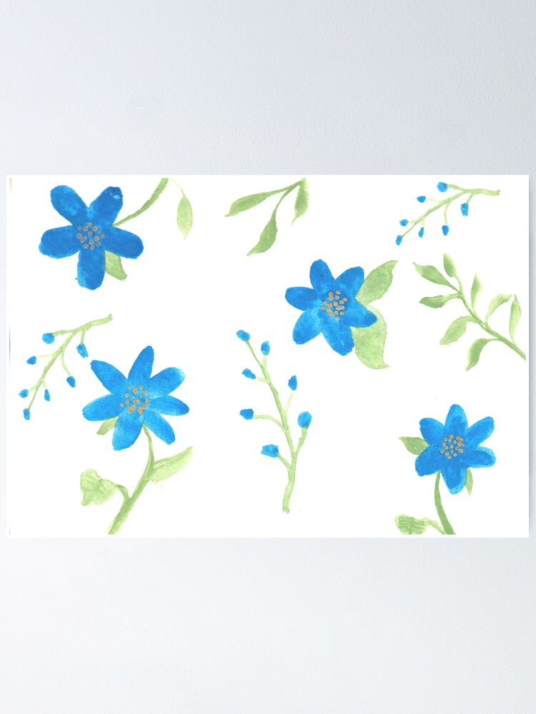 Alternate view of Vibrant Blue Flowers Poster