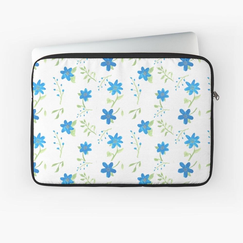 Vibrant Blue Flowers Laptop Sleeve
