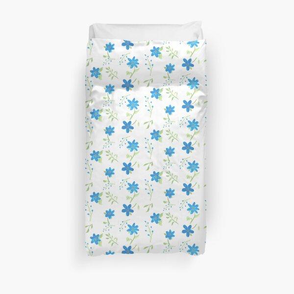 Vibrant Blue Flowers Duvet Cover