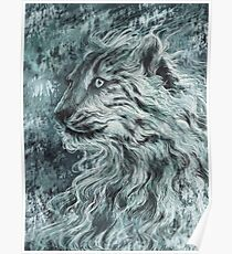 Snow Leopard / Wild Cat - Dark Design Poster