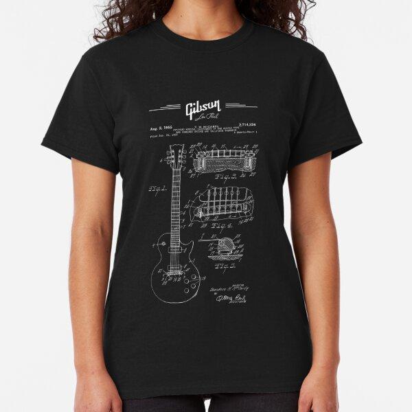 Gibson Les Paul Guitar Patent Drawing 1955 - Blueprint - Music - Rock-Blues-Metal Classic T-Shirt