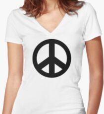 Peace Sign Symbol Fitted V-Neck T-Shirt