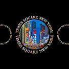Times Square New York Triple Emblem (on black) by Ray Warren