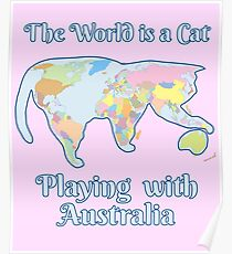 Cat Map Of The World.Cat Map Posters Redbubble