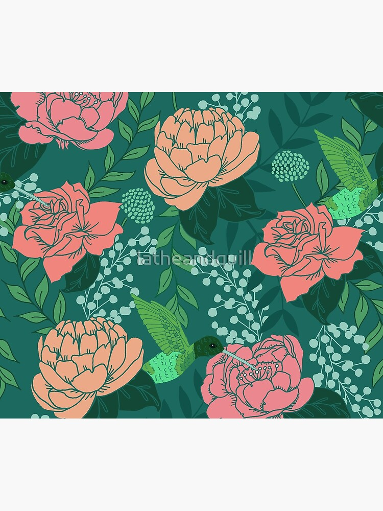 Victorian Floral Pattern with Hummingbird on Teal by latheandquill
