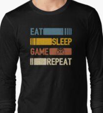 Video Game Eat Sleep Game Repeat Funny Vintage Long Sleeve T-Shirt
