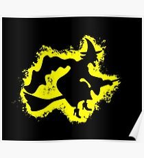 Witch cape yellow and black silhouette Poster