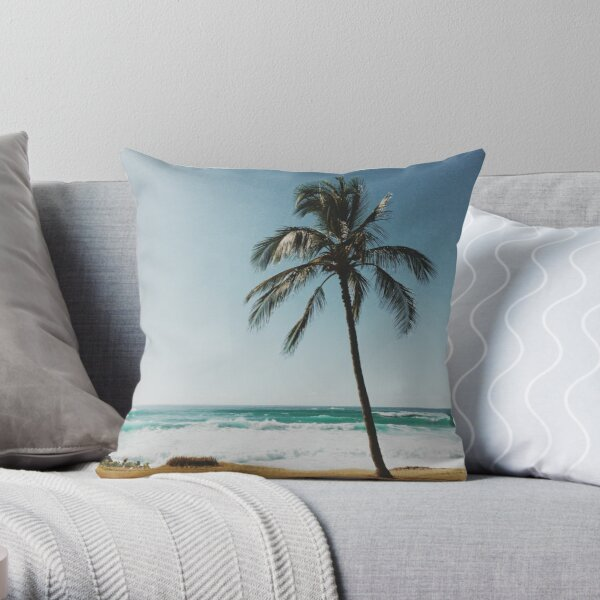 Palm Tree By The Beach  Throw Pillow
