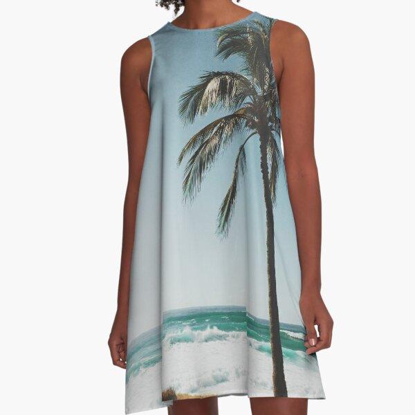 Palm Tree By The Beach  A-Line Dress