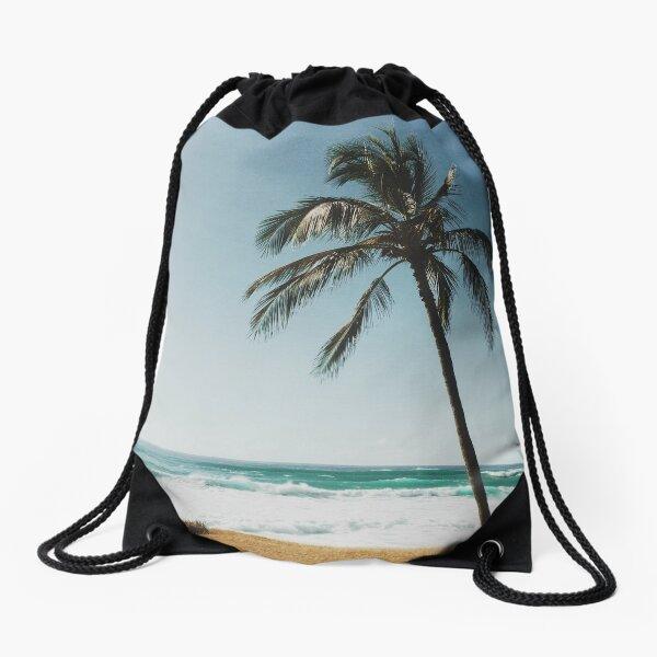 Palm Tree By The Beach  Drawstring Bag