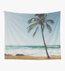 Palm Tree By The Beach  Wall Tapestry