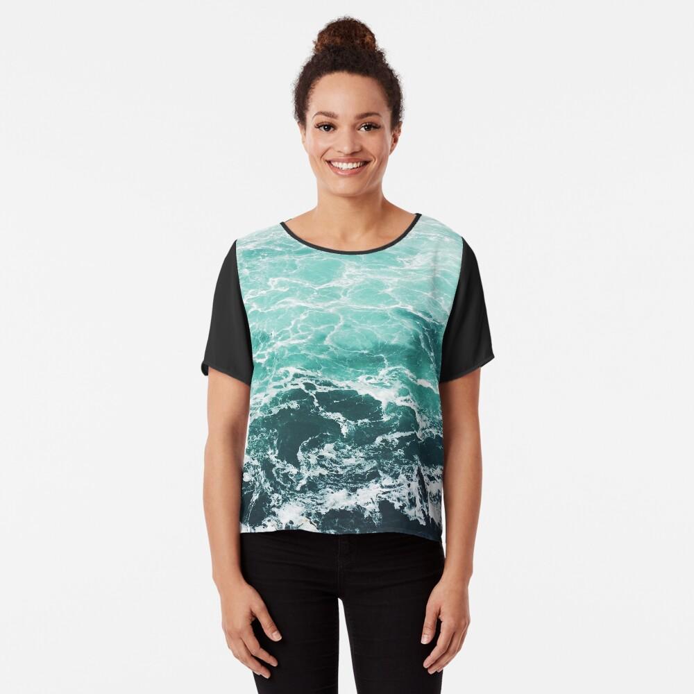 Blauer Ozean Sommer Strand Wellen Chiffon Top