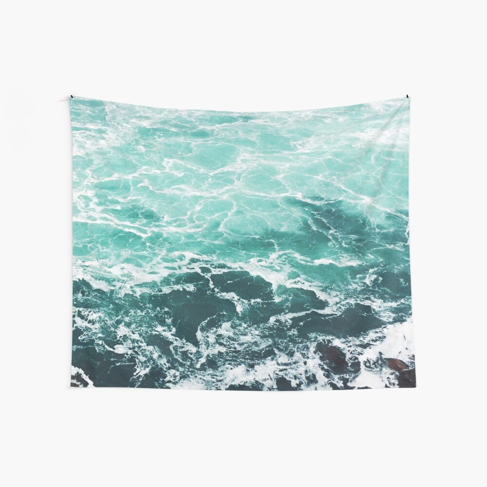 Blue Ocean Summer Beach Waves Wall Tapestry
