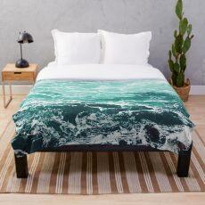 Blauer Ozean Sommer Strand Wellen Fleecedecke