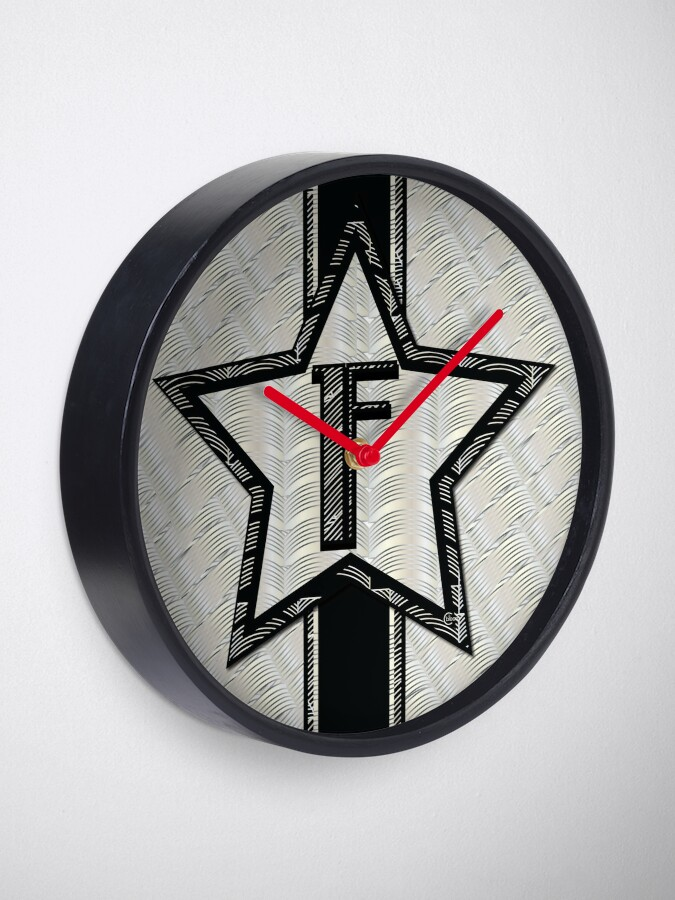 Alternate view of STAR of the SHOW art deco style letter F Clock