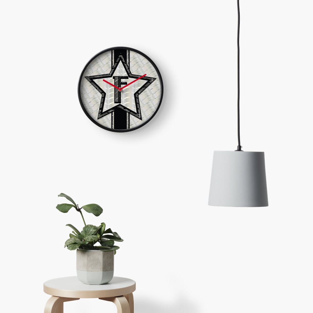 STAR of the SHOW art deco style letter F Clock