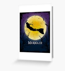 Mermaid Halloween Vintage Art Mermaid Fantasy Greeting Card