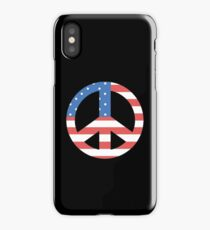 Peace Symbol with American Flag T-Shirt iPhone Case