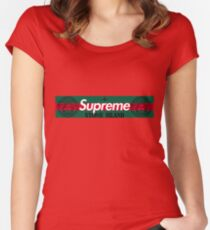 Louis Gucci Supreme Bogo Stone Island Versace Logo Women's Fitted Scoop T-Shirt