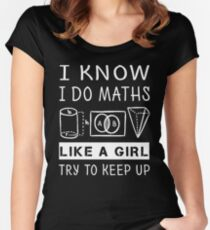Funny Math T Shirt Gift-I Know I Do Maths Like A Girl Try To Keep Up for Women Men Fitted Scoop T-Shirt
