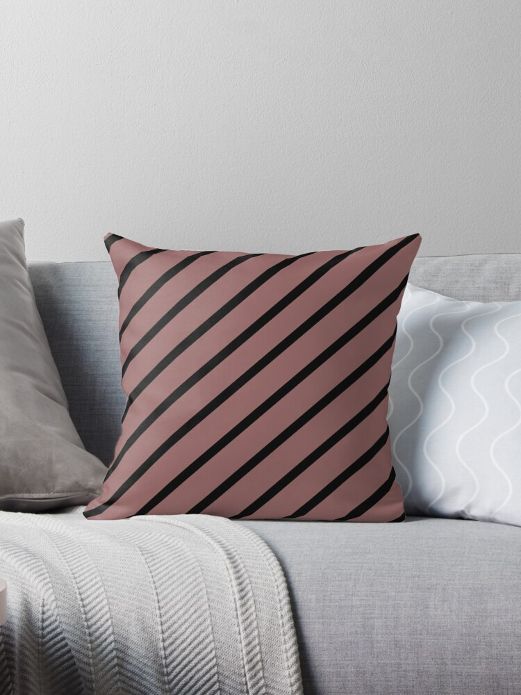 MARSALA PINK - BROWN AND BLACK DIAGONAL STRIPES DESIGN  by ozcushionstoo