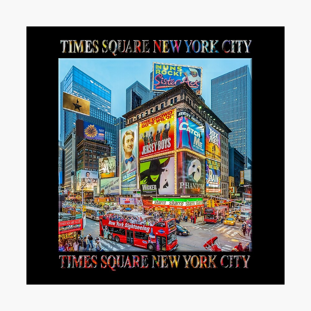 Times Square III Special Finale Edition Titled Poster (on black) Photographic Print