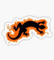 Animal gecko orange and black silhouette Sticker