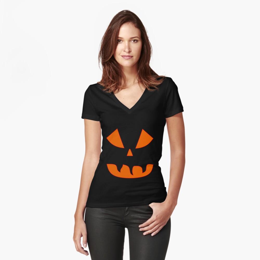 Halloween Kürbisgesicht Tailliertes T-Shirt mit V-Ausschnitt