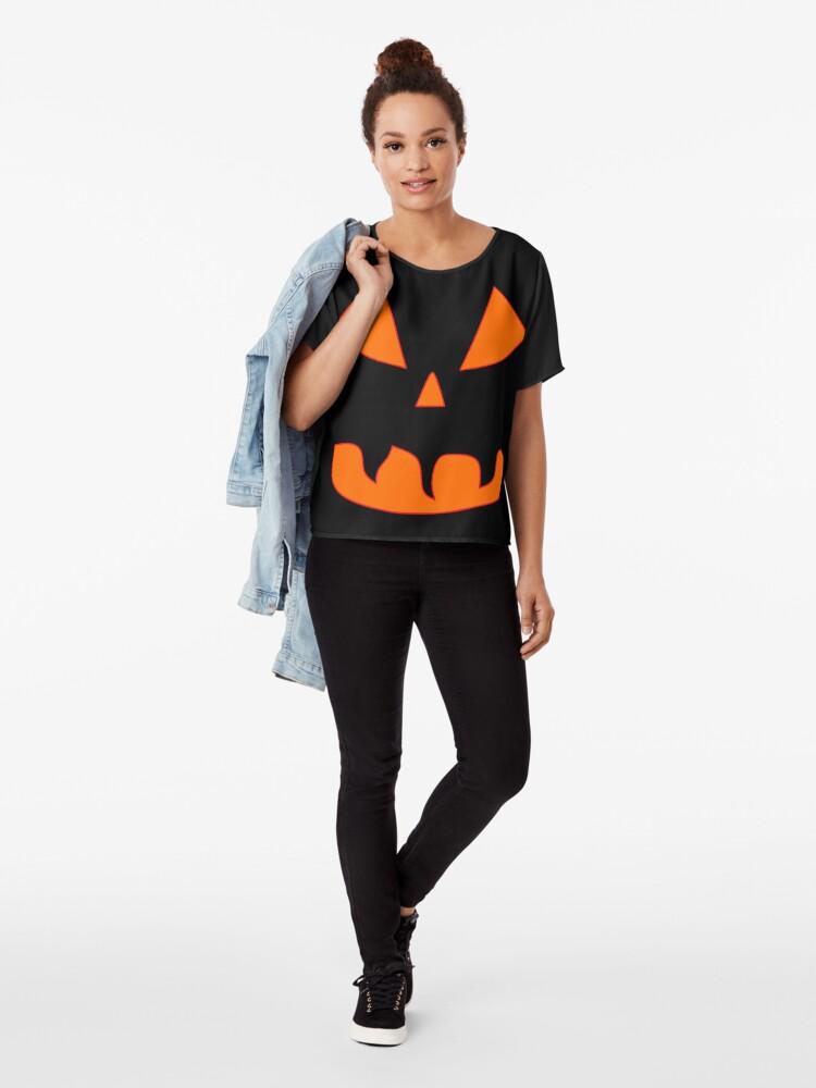 Alternative Ansicht von Halloween Kürbisgesicht Chiffon Top