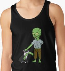 Boston Terrier Playing With Zombie Halloween Tank Top
