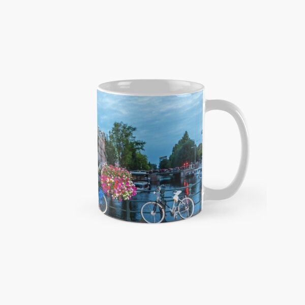Bicycles and Flowers on a Bridge in Amsterdam Classic Mug