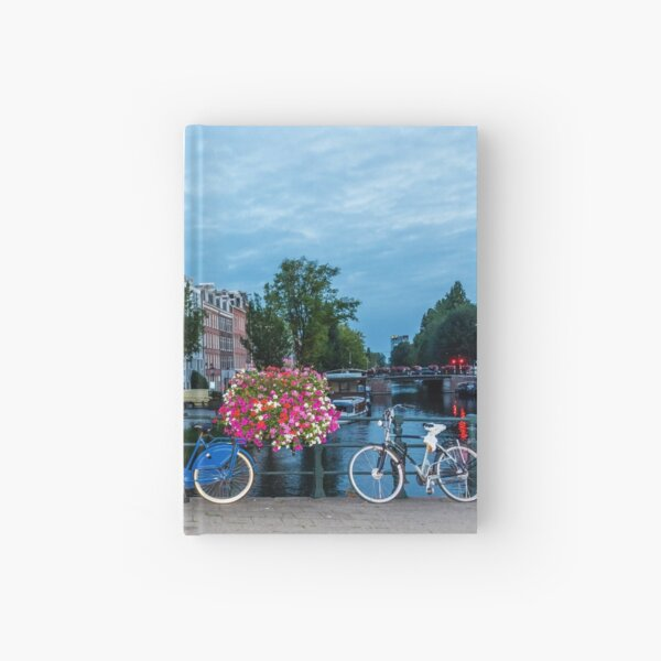 Bicycles and Flowers on a Bridge in Amsterdam Hardcover Journal