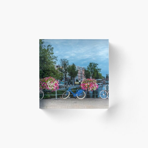 Bicycles and Flowers on a Bridge in Amsterdam Acrylic Block