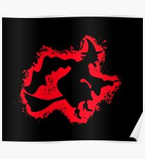 Witch cape red and black silhouette Poster