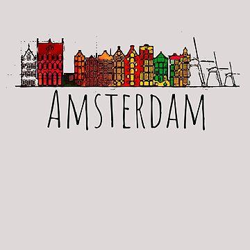 Amsterdam Skyline Holland Love Travel Destination Graphic Design by IvonDesign