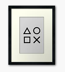 Playstation Controller Gray Wall Art Print Video Game Decor Fortnite Gaming Geometric Shapes Framed Print