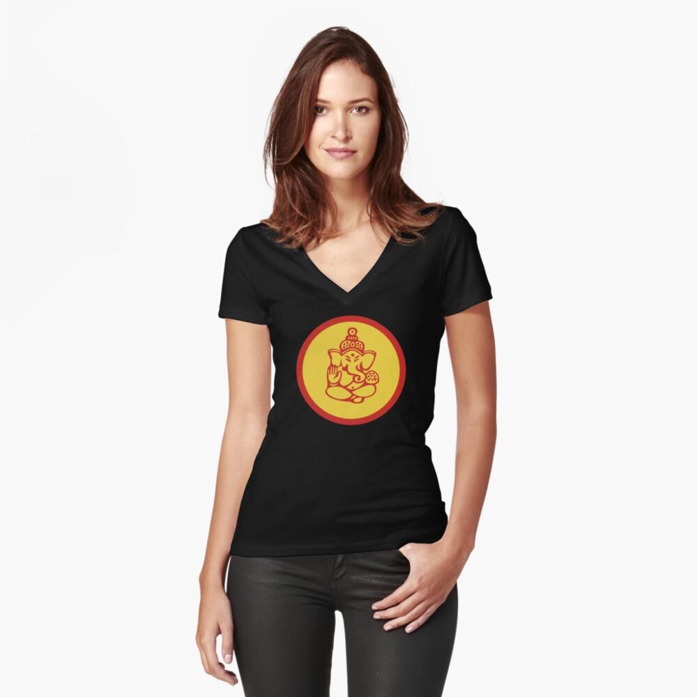 Yoga Ganesh Women's Fitted V-Neck T-Shirt Front