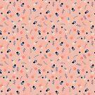 Peach ditsy floral  by sazerelli