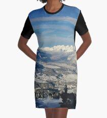 Innsbruck In Winter From Patscherkofel Mountain Graphic T-Shirt Dress