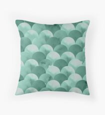 Moss Watercolour Fish Scale Pattern Throw Pillow