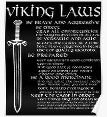 Viking Laws Scandinavian Warriors Sword Distressed Poster
