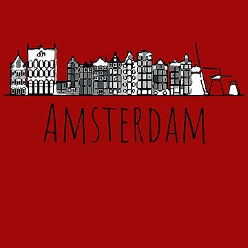 Colorful Amsterdam silhouette sketch by IvonDesign