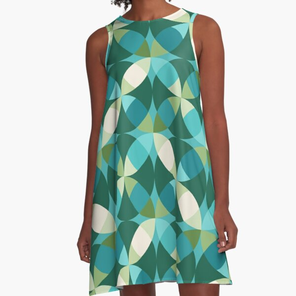 Mid Century Modern Circle Lock Print 3 - Green Turquoise Teal A-Line Dress