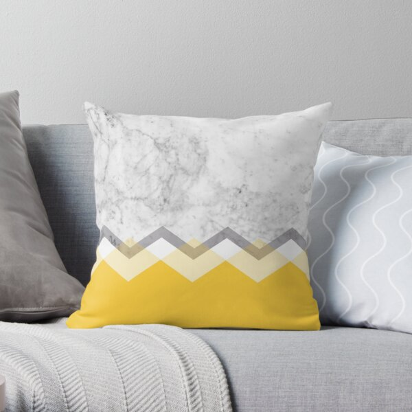 Mustard and Marble Graphic  Throw Pillow