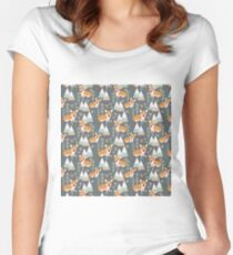 Corgi in the forest Women's Fitted Scoop T-Shirt